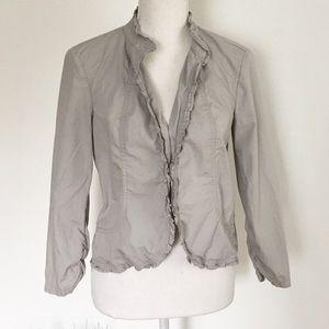 🌸LOFT Gray Cotton Ruffle Spring Jacket